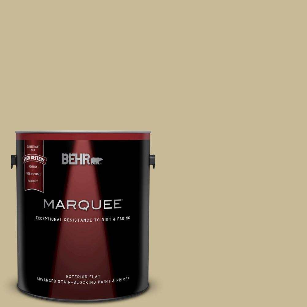 BEHR MARQUEE 1 gal  #PPU8-09 Tea Bag Flat Exterior Paint and Primer in One