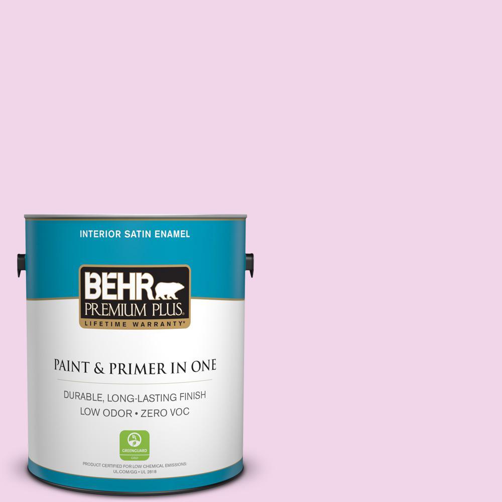 BEHR Premium Plus 1-gal. #680A-1 Candy Tuft Zero VOC Satin Enamel Interior Paint