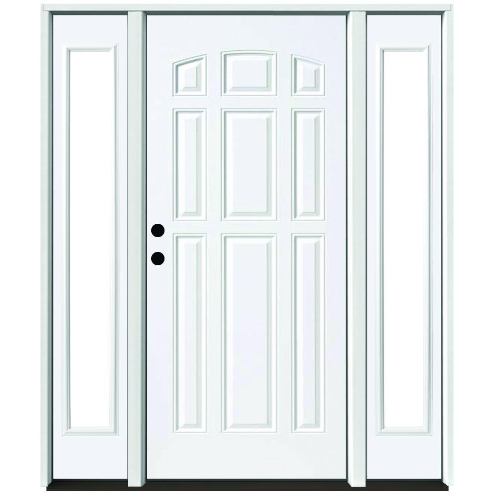 Steves & Sons 72 in. x 80 in. 9-Panel Primed White Right-Hand Steel Prehung Front Door with 16 in. Clear Glass Sidelites 4 in. Wall