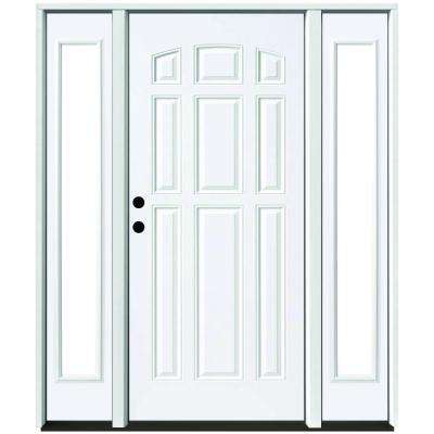 68 in. x 80 in. 9-Panel Primed White Right-Hand Steel Prehung Front Door with 14 in. Clear Glass Sidelites 4 in. Wall