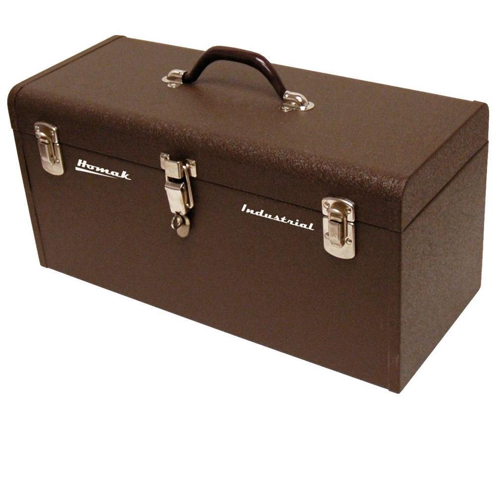 Professional 20 in. Industrial Tool Box in Brown Wrinkle