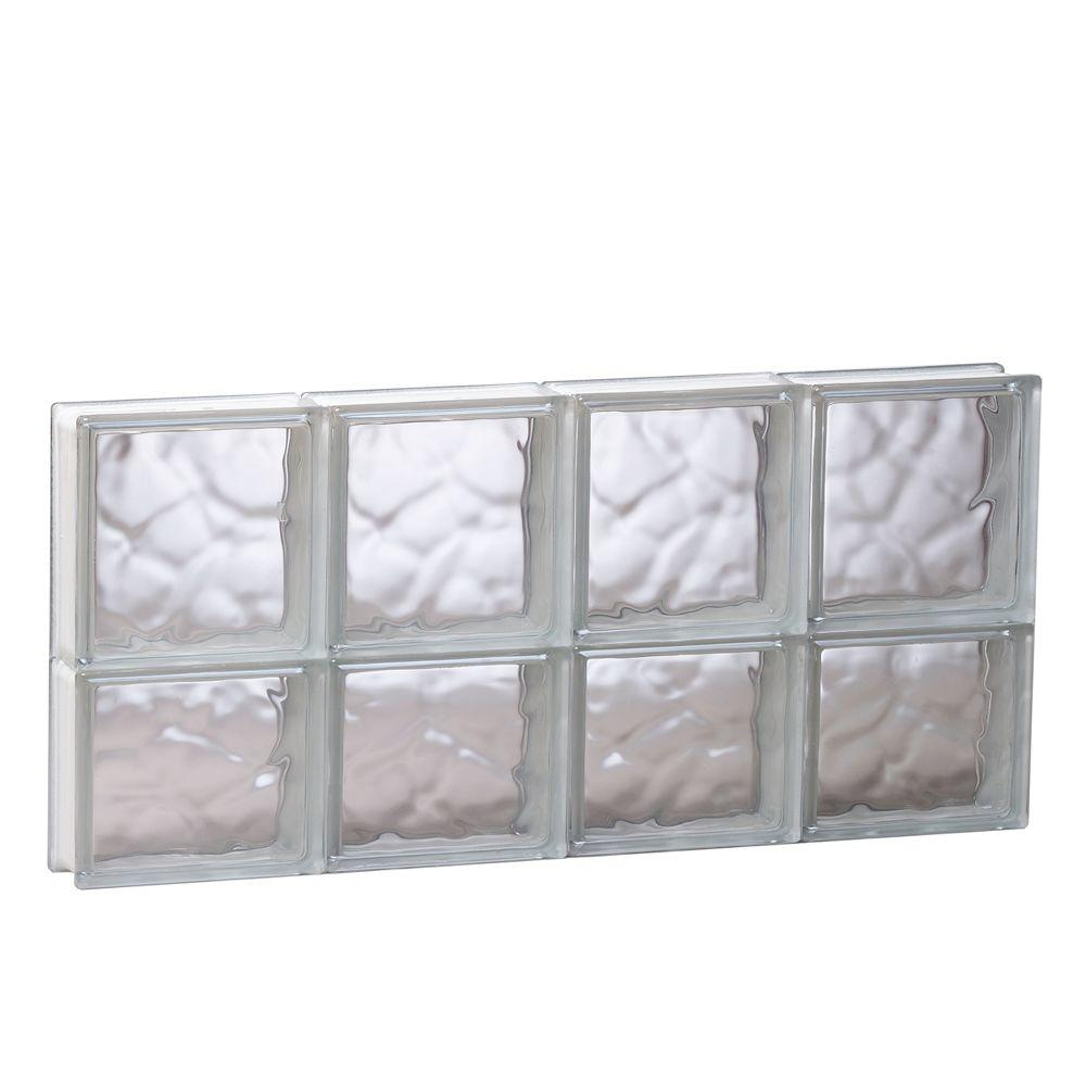 Clearly Secure 31 in. x 13.5 in. x 3.125 in. Wave Pattern Non-Vented Glass Block Window