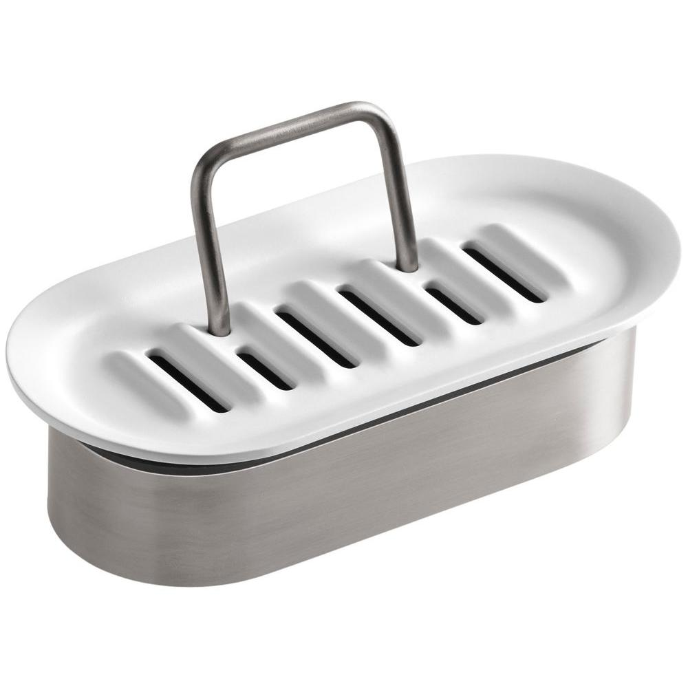 Stainless Steel Sponge Caddy in White
