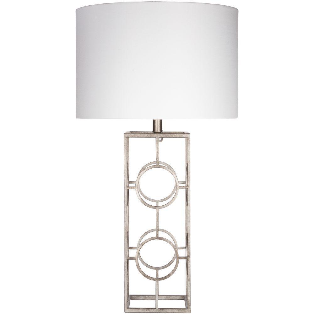 Corradino 28 in. Antiqued Silvertone Indoor Table Lamp