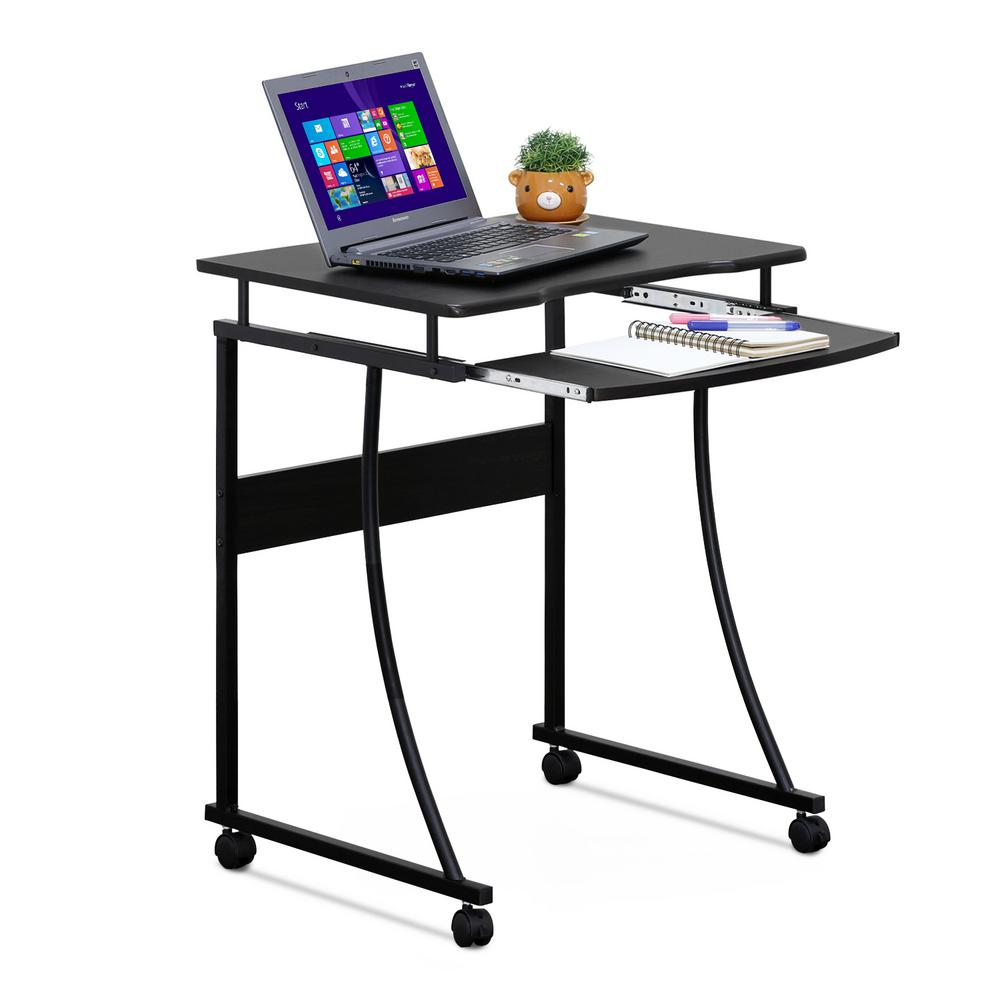 Computer Desk Keyboard Tray Espresso Metal Frame Home
