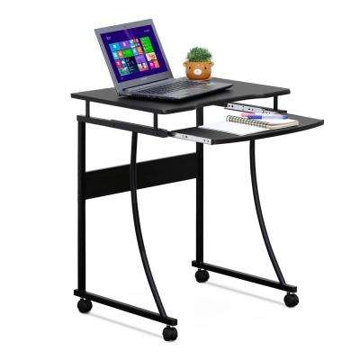 Espresso Metal Frame Computer Desk with Keyboard Tray