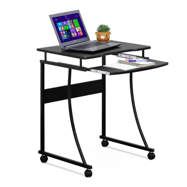 Furinno Espresso Metal Frame Computer Desk with Keyboard Tray FCG295EX