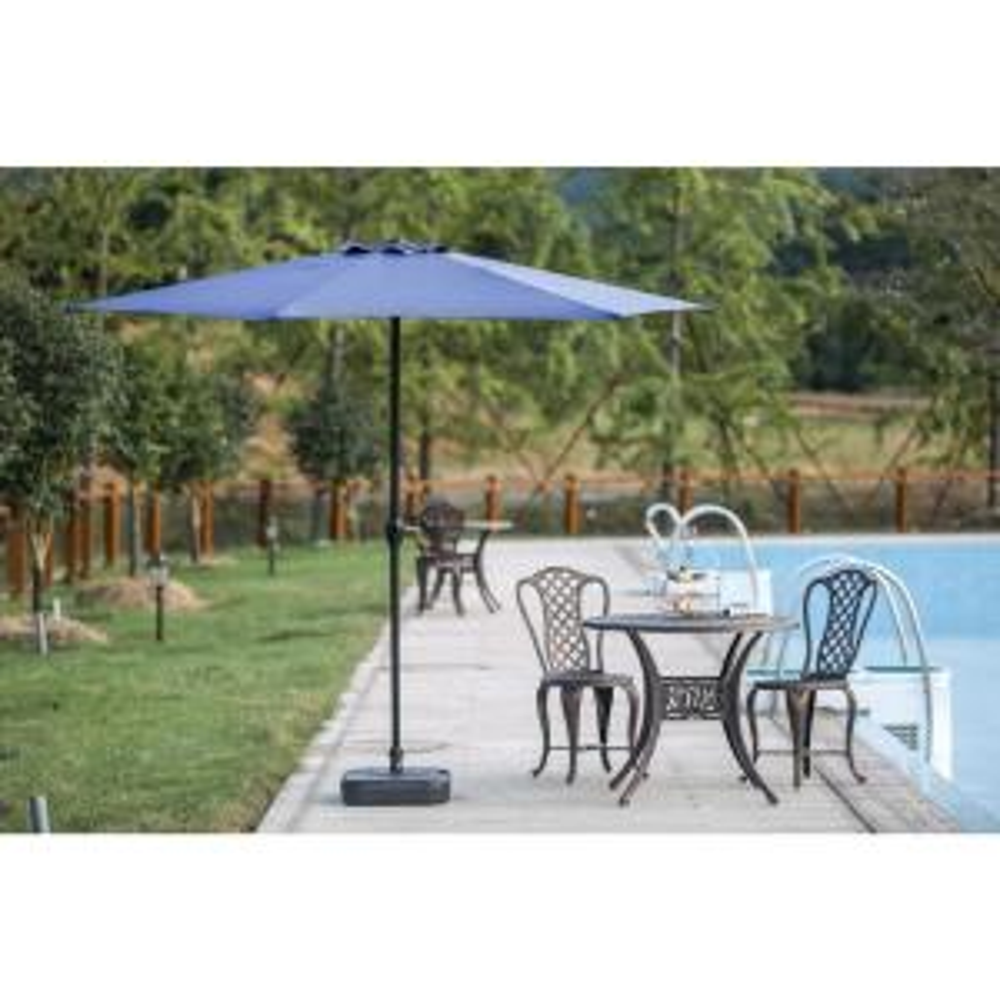 9 ft. Powder-Coated Steel Crank Patio Market Umbrella in Blue