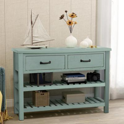 Blue Antique Console Table with Drawers and 2 Tiers Shelves