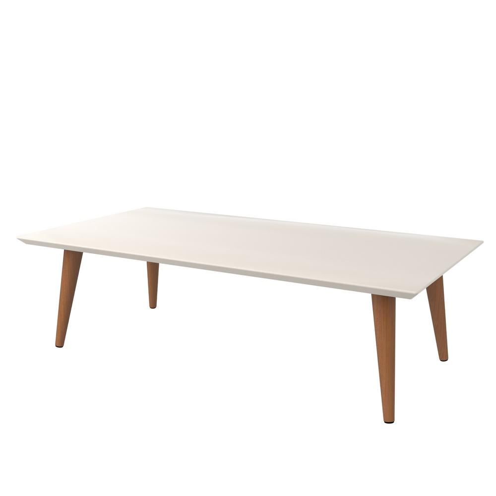 Manhattan Comfort Utopia In H Off White And Maple Cream Rectangle Coffee Table With