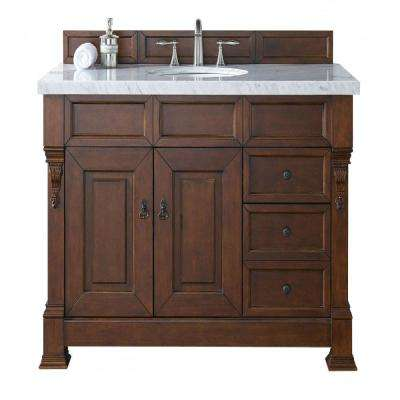 Brookfield 48 in. W Single Vanity with Drawers in Warm Cherry with Marble Vanity Top in Carrara White with White Basin