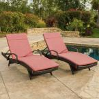 Multi-Brown 2-Piece Wicker Outdoor Chaise Lounge Set with Red Cushions