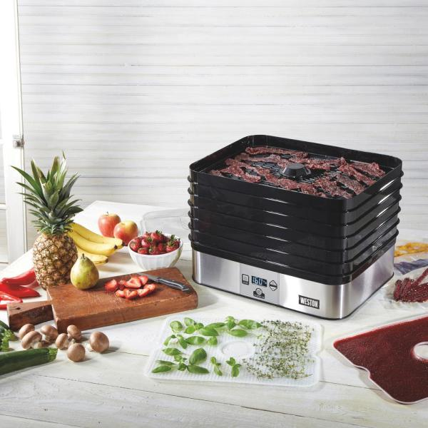 Plus 6-Tray Black and Silver Food Dehydrator with Built-In Timer