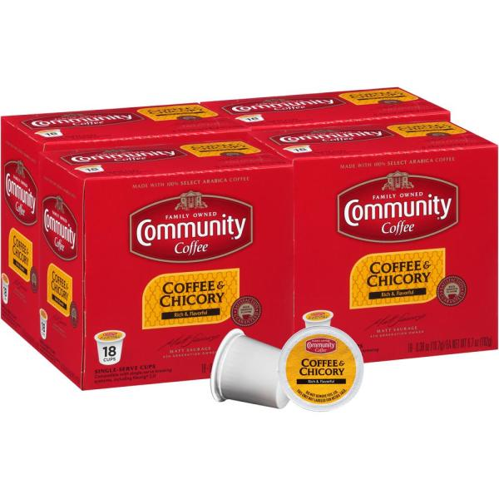 Community Coffee Coffee and Chicory Medium-Dark Roast Single Serve Cups