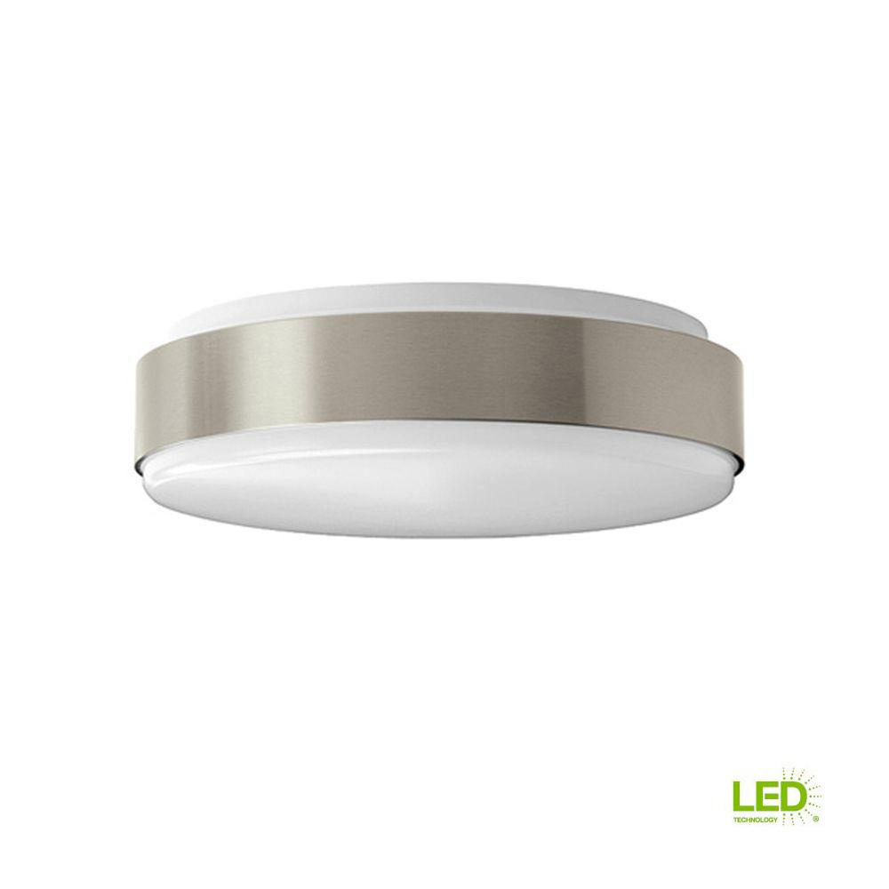 11 in. 100 Watt Equivalent Brushed Nickel Bright White Round Integrated