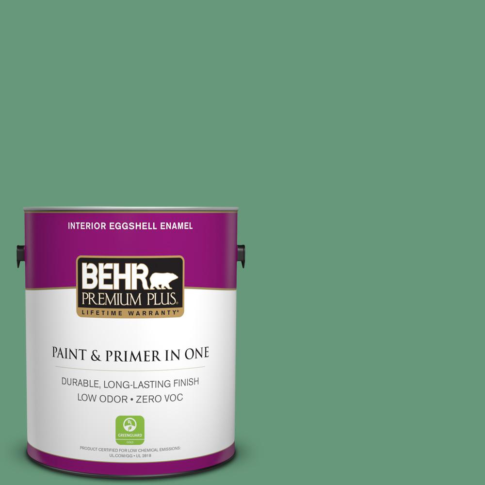 BEHR Premium Plus 1 gal. #470D-5 Herbal Eggshell Enamel Zero VOC Interior Paint and Primer in One