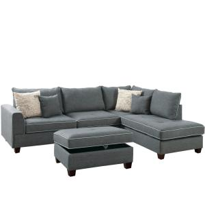 Siena Steel Fabric 6-Seater L-Shaped Sectional Sofa with Ottoman