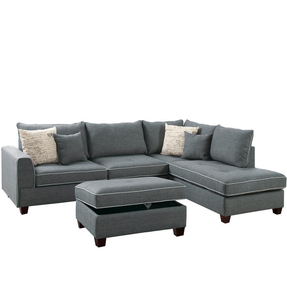 Venetian Worldwide Siena 3-Piece Sectional Sofa in Steel ...