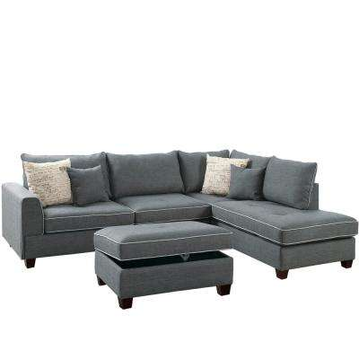Siena 3-Piece Sectional Sofa in Steel with Storage Ottoman