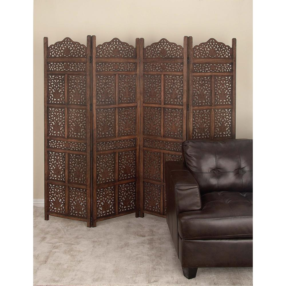 Litton Lane 80 In. X 72 In. Large 4-Panel Brown Wood
