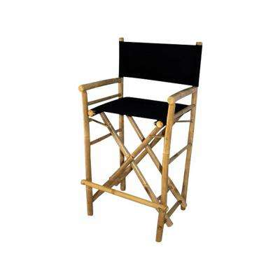 19 in. L x 23 in. W x 43 in. H Tall Bamboo Director Chairs, Black Canvas (Set of 2)