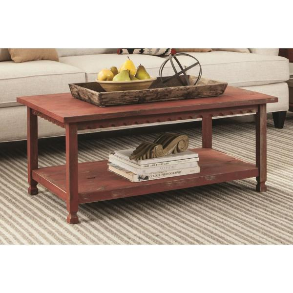 Alaterre Furniture Country Cottage 42 In Red Large Rectangle Wood Coffee Table With Shelf Acca11ra The Home Depot