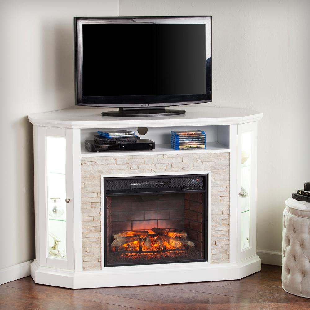 W Corner Convertible Infrared Electric Media Fireplace In White