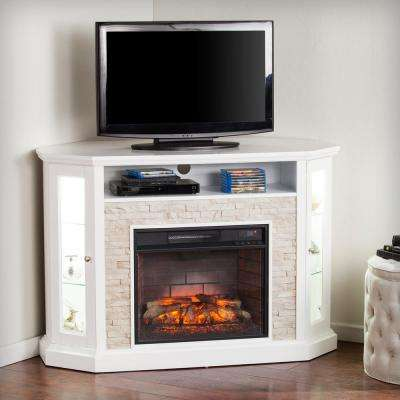 Bellingham 52.25 in. W Corner Convertible Infrared Electric Media Fireplace in White