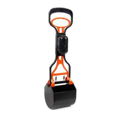 Black and Orange Squeeze-N-Scoop Cat and Dog Lightweight Pooper Scooper with Waste Bag Holder