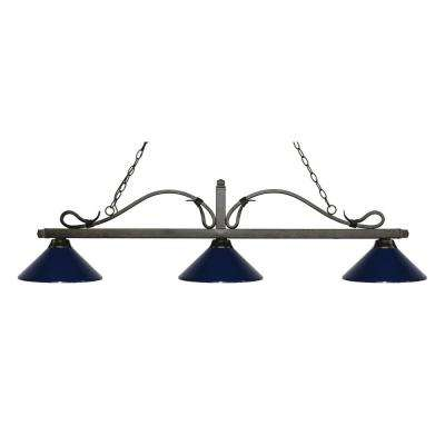 Troy 3 Light Golden Bronze Island Light With Navy Blue Shades