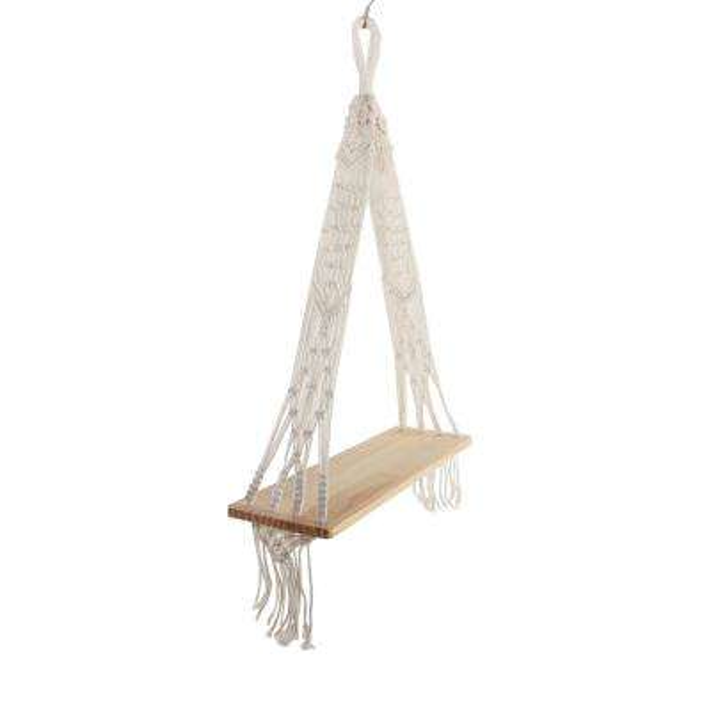 20 in Wood and Macrame Hanging Shelf