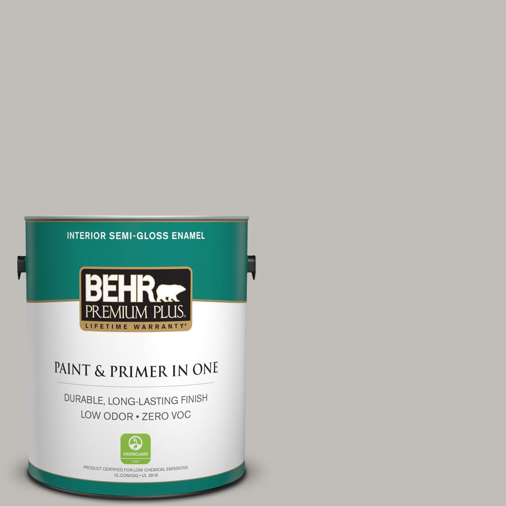 1-gal. #HDC-WR15-3 Noble Gray Zero VOC Semi-Gloss Enamel Interior Paint