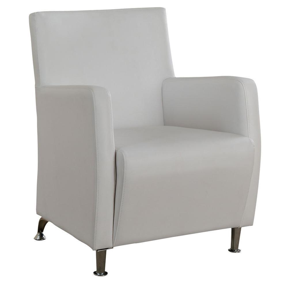 Worldwide Homefurnishings Faux Leather Club Chair in White