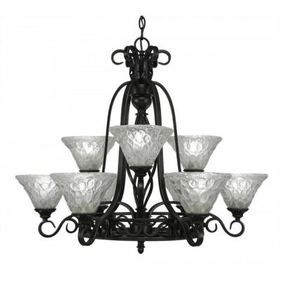 9-Light Dark Granite Chandelier with Italian Bubble Glass Shade