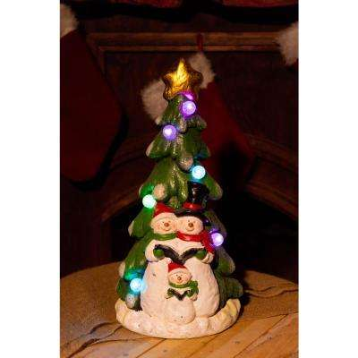17 in. H Snowman Under Christmas Tree with LED