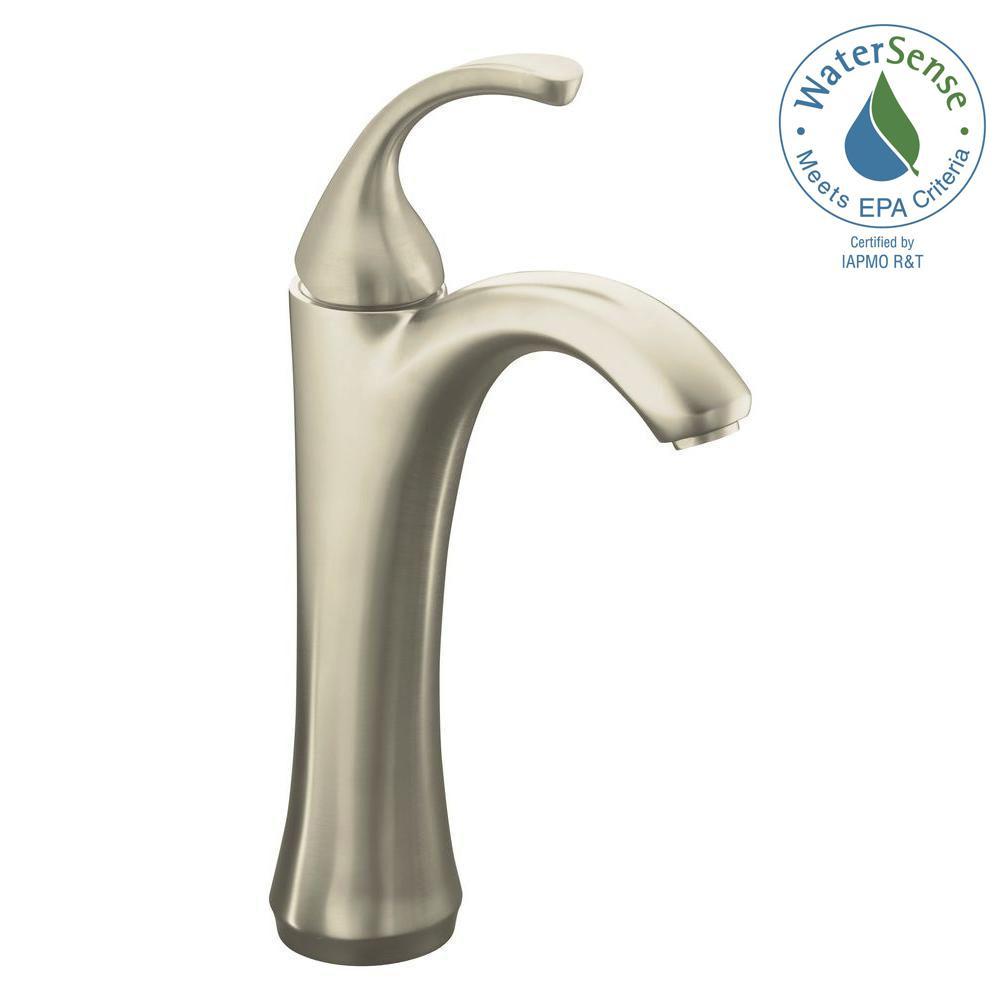 Forte Single Hole Single Handle Mid-Arc Bathroom Faucet in Vibrant Brushed Nickel