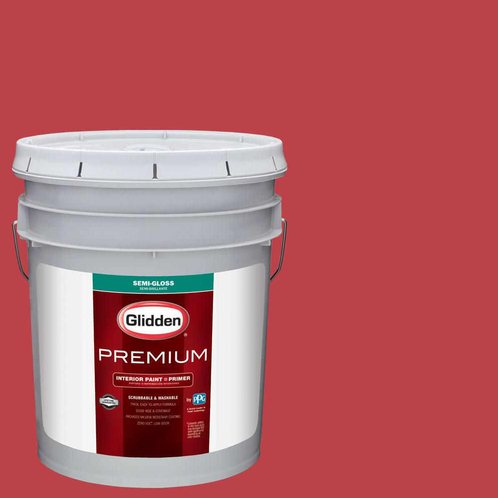 Glidden Premium 5 gal. #nfl-179C Pittsburgh Steelers Red Semi-Gloss Interior Paint with Primer