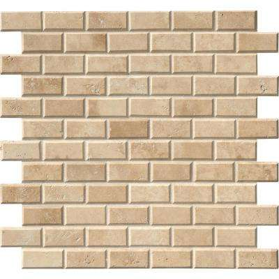 Tuscany Ivory 12 in. x 12 in. x 10mm Honed Beveled Travertine Mesh-Mounted Mosaic Tile (10 sq. ft. / case)