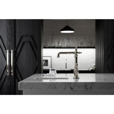 Artifacts Single-Handle Bar Faucet with Victorian Spout Design in Vibrant Polished Nickel