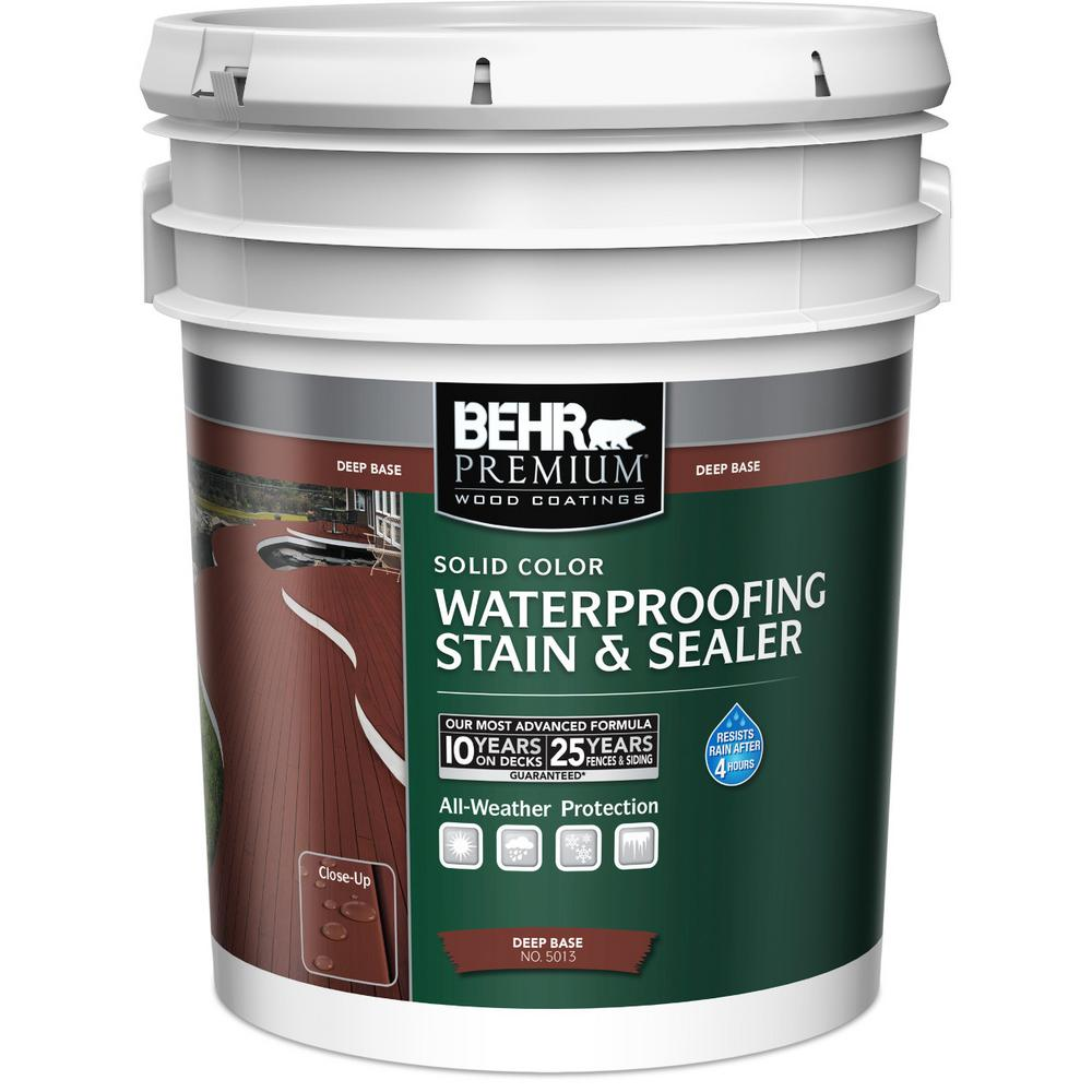 Behr Premium 5 Gal Deep Base Solid Color Waterproofing Exterior Wood Stain And Sealer