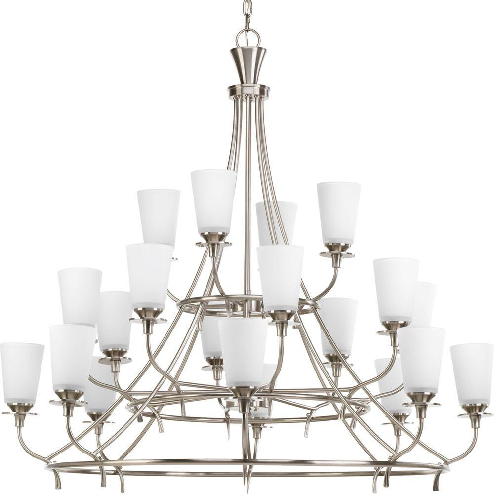 Progress Lighting Cantata Collection 20-Light Brushed Nickel Chandelier with Shade with Etched White Glass Shade