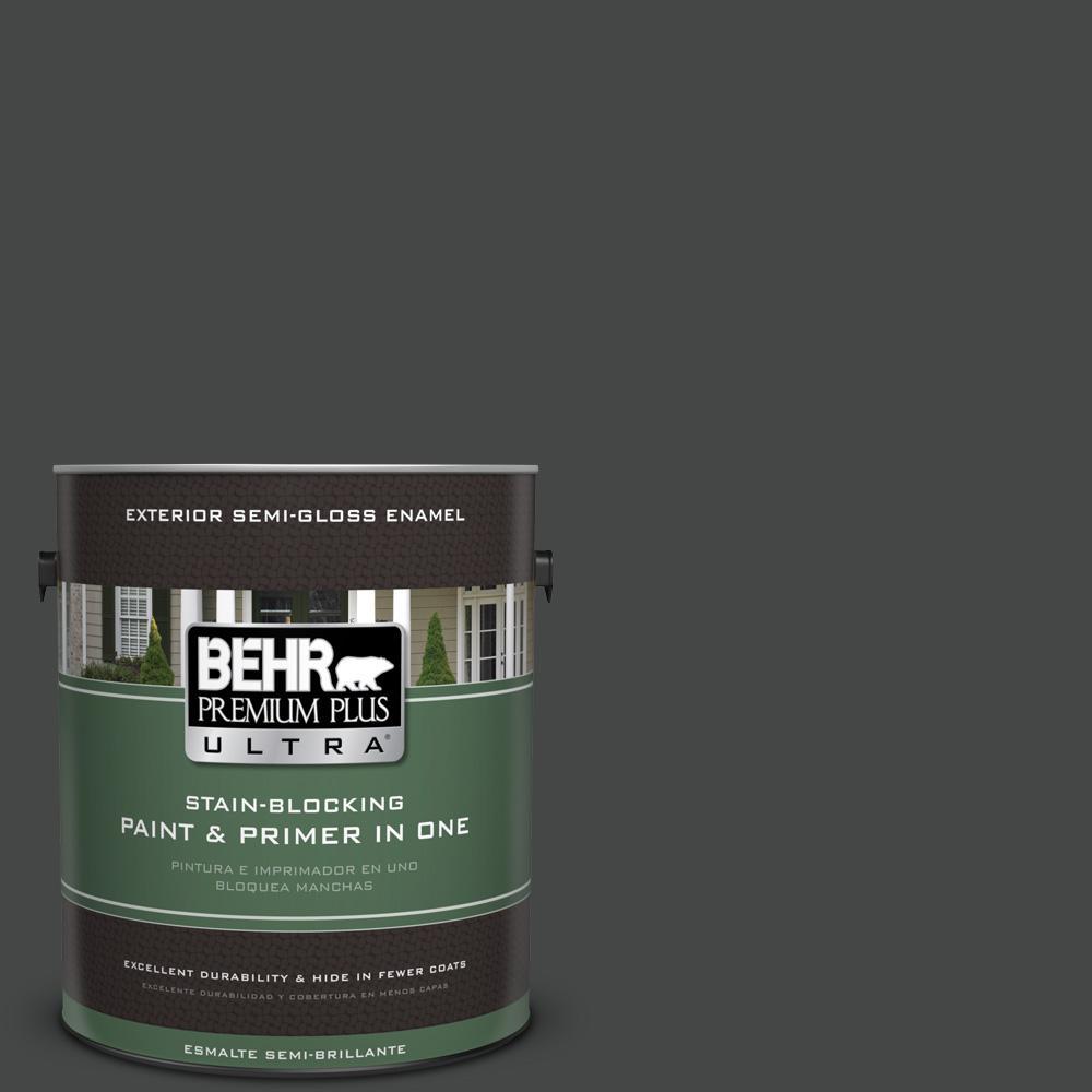 BEHR Premium Plus Ultra 1 Gal. #PPU26 23 Black Boudoir Semi Gloss