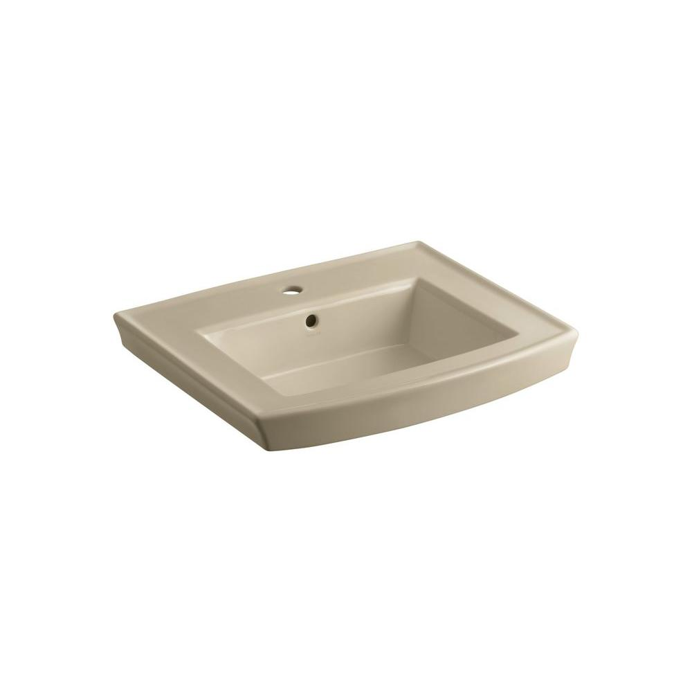 KOHLER Archer 4 in. Vitreous China Pedestal Sink Basin in Mexican Sand with Overflow Drain