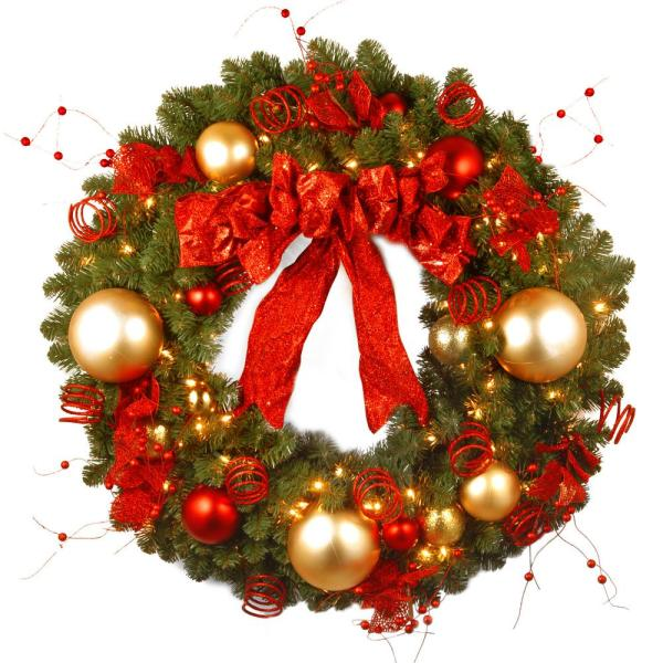 Decorative Collection Cozy Christmas 36 in. Artificial Wreath with Red and Clear Lights