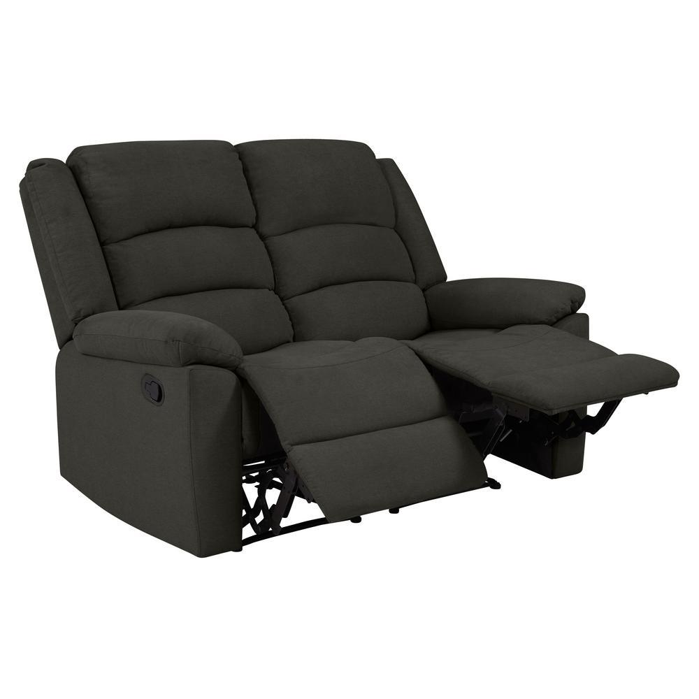 Enjoyable Prolounger Charcoal Gray Plush Low Pile Velvet 2 Seat Wall Short Links Chair Design For Home Short Linksinfo