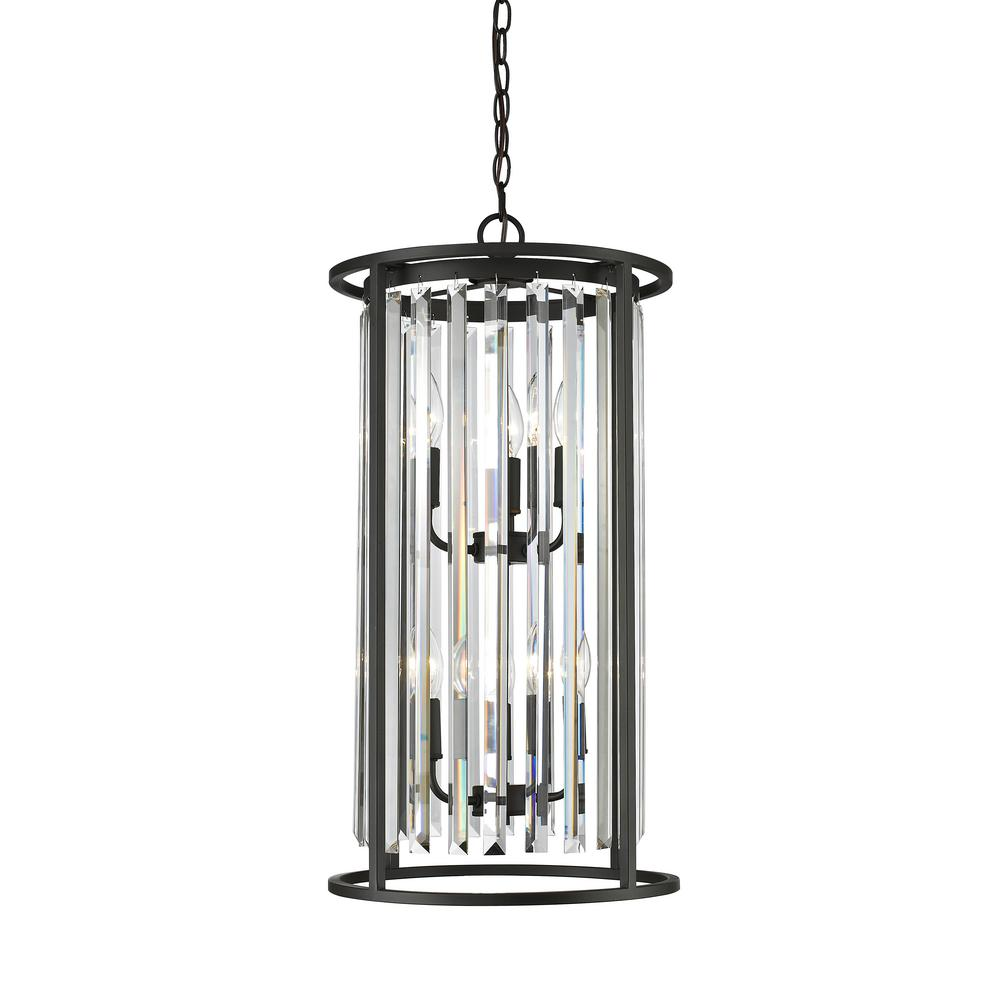 Mersesse 6-Light Bronze Chandelier with Clear Crystal Shade