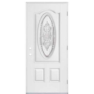 36 in. x 80 in. New Haven 3/4 Oval Left Hand Outswing Primed White Smooth Fiberglass Prehung Front Exterior Door