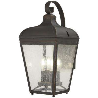 Marquee 4- Lights Oil Rubbed Bronze with Gold Highlights Outdoor Wall Lantern Sconce
