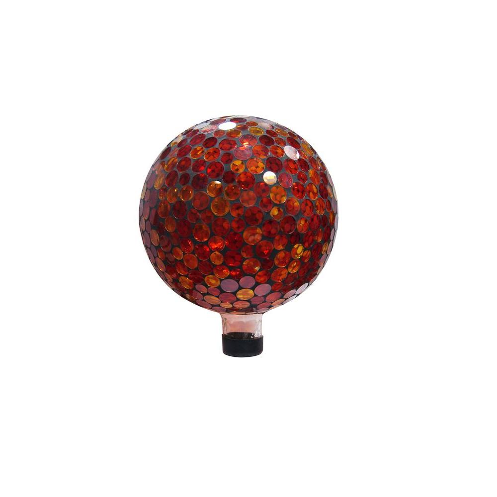 10 in. Red/Yellow Mosaic Gazing Ball
