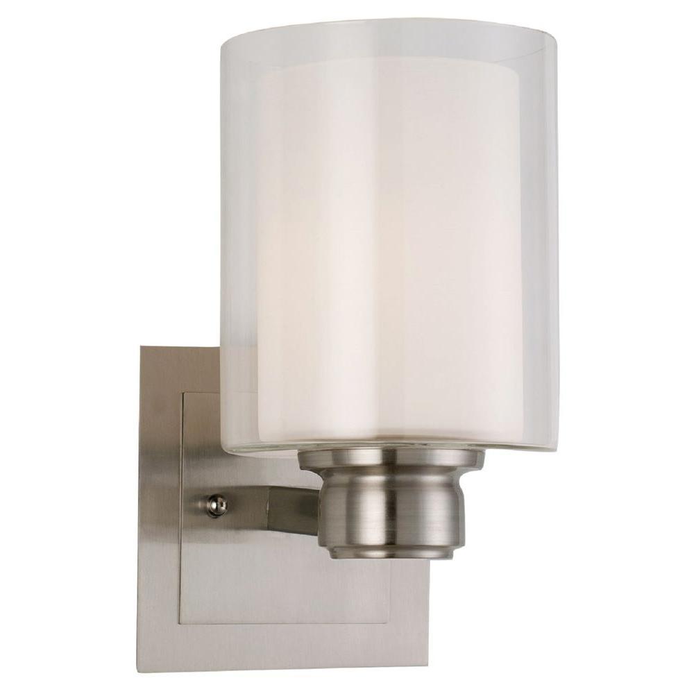 design house oslo 1 light satin nickel indoor wall mount 556134 the home depot. Black Bedroom Furniture Sets. Home Design Ideas